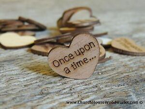 """100 qty 1"""" Once upon a time... Wood Hearts Table Confetti Wooden Wedding Decor"""