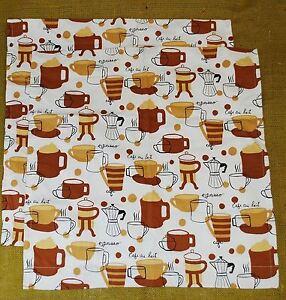 """Pair of 19"""" Pillow Covers Shams 100% Cotton - Espresso Coffee Cafe Au Lait Print"""