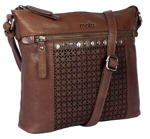 Classic Soft Leather Crossbody Bag by Mala Leather -Warwick Collection 7158 tan