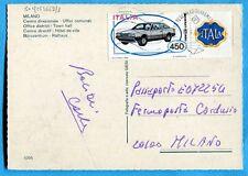AUTO £.450 (Sass. 1668 )  ISOLATO su cartolina diretta in FERMO POSTA  (243669)