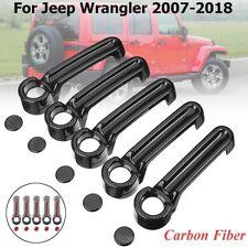 10Pcs For Jeep Wrangler JK 07-18 Carbon Fiber 4 Door Handle+Tailgate Cover Trim