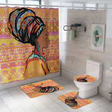 "71x71"" Bathroom Shower Curtain Cover Toilet Lid Rug Mat African women Pattern"