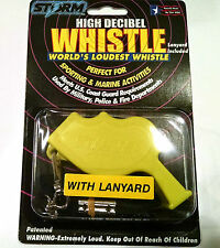 Storm Safety Survival Whistle with Lanyard Yellow  packaged loudest in world