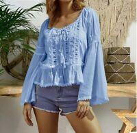Shirt Fashion Long Sleeve T-shirt Blouse Solid Women's Ladies Tops Summer Loose