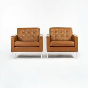 2012 Pair of Florence Knoll Club / Lounge Chairs in Dark Tan or Caramel Leather