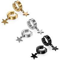 Stainless Steel Star Drop Dangle Hoop Huggie Mens Womens Ear Stud Earrings 6pcs