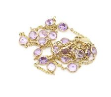 Amethyst Pink Gemstones 16 Inches Necklace 14k Yellow Chain