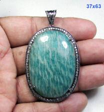 Amazonite Gemstone 1.14 Ct Pave Diamond 925 Silver Handmade Fine Jewelry Pendant