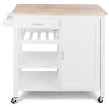 Kitchen Island Trolley Cart Wood Top Cabinet With Wine Rack & Shelf White