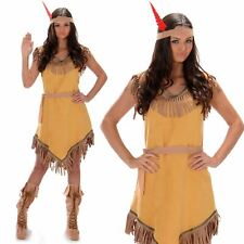 Womens Native American Costume Pocahontas Red Indian Wild West Adult Fancy Dress