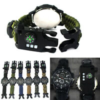 Multifunctional Military NEW Survival Bracelet Watch With Whistle Compass