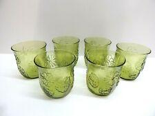 Vintage Anchor Hocking SPRINGSONG Green Rocks Glasses, Set of 6