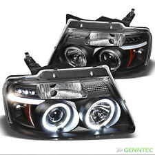 For 04-08 F150/LOBO, 06-08 Mark LT Black Halo Projector Headlights w/Daytime LED