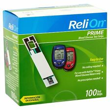 Prime Blood Glucose Test Strips ReliOn, 100 Count Ships Really FAST