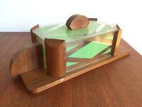 Boite à biscuits art déco, bois, verre et décor géométrique
