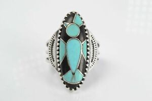 CAROLYN POLLACK STERLING SILVER INLAY TURQUOISE BLACK ONYX RING SIZE 8