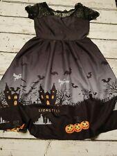 Women Lace Sleeve Pumpkins  Black Cats Ghost Bats Halloween Dress small