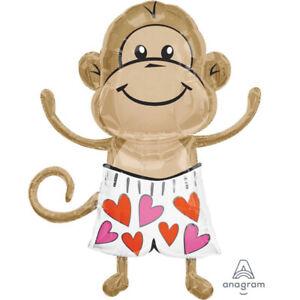 """Valentine """"Love Monkey"""" Giant Foil Balloon - Valentines Day Supplies"""