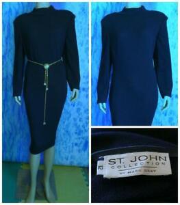 ST. JOHN Collecton Knits Navy Blue Dress L 12 14 Long Sleeve Sheath Collared