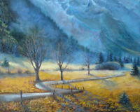 """Mountain rapsody. Original  framed oil on canvas  16""""x20"""" painting"""