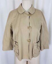 J.Crew Chino Cropped Twill Khaki Safari Jacket Womens 4 Asymmetrical Button Up