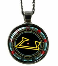 Stargate Engaged Computer Logo Glass Domed Metal Pendant Necklace