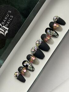 Hand Painted  Press On Nails Matte Black Rose Gold Glitter Butterfly Coffin
