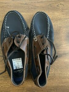 BNWT. Mens Clarks Lace Up Loafers/Boat Shoes. Size 7. Navy & Tan.