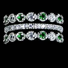 3-RING SET_EMERALD GREEN AND CLEAR CZ ETERNITY BANDS RING_SIZE-10__925 SILVER-NF