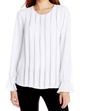 "$158 BCBG WHITE ""CIDNEY"" LONG SLEEVE  PLEATED  BLOUSE TOP NWT XS"