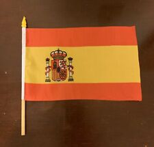 Spanish Flag 8.5� by 5.5� with Wooden Stick Spain Bandera de España Brand New
