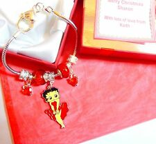 Betty Boop Charm Bracelet Heart Clasp Any Wording Personalised Gift Box +Tag