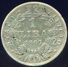 Vatican Pie IX 1 Lire argent 1867 Rome An XXI