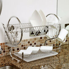 Home Basics Chrome 2 Tier Kitchen Sink Dish Drainer Drying Rack