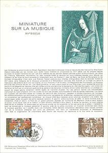 Timbre 1er jour sur document philatélique -MINIATURE SUR LA MUSIQUE- PARIS -1979