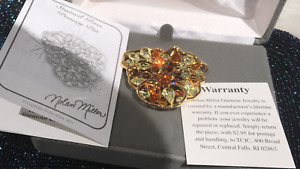 New in Box Rare Nolan Miller Orange, Amber Stones Pansy Brooch, Pin  1 3/4""