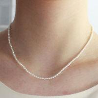 Charme 2-3 mm Weiß Süßwasser Perle Halskette 16 inch