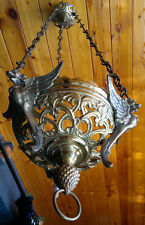 "Antique French Bronze Sanctuary Lamp Chandelier Lantern C1880 - 32""Drop -"