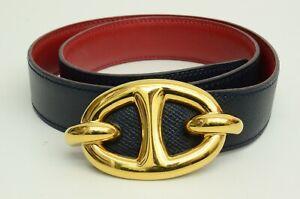 Authentic Hermes Belt Navy Leather GP Buckle Emblem 1991 Fashion Accessory