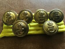 Royal Navy officer's buttons  X 6  Set Made By Gieves  Gilt Brass 1945 On 19.5mm