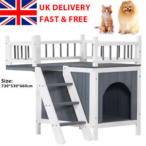 Pet House Indoor&Outdoor Wooden Cat Dog Shelter Kennel with Balcony Deck Stairs