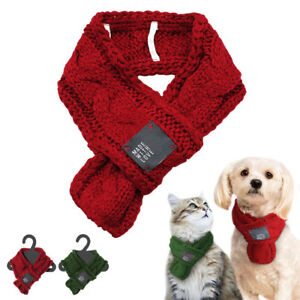 Red Cable Knit Dog Scarf Christmas Cat Dog Winter Scarf Collar Neck Neckerchief