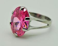 Fashion Cocktail Ring Pink Cubic Zirconia Rhodium Plated ring Sz 7 US-SELLER 38