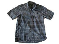 WOOLRICH Men's Blue Plaid Snap Button Short Sleeve Embroidered Dog Shirt Medium
