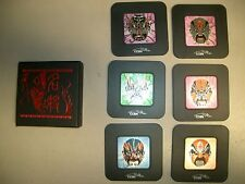 6 Chinese Coasters Black with metallic face mask in center, In black box