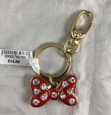 Disney Parks Minnie Mouse Bow Big Jeweled Keychain - NEW