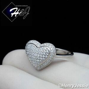 WOMEN 925 STERLING SILVER BLING HEART SHAPE ENGAGEMENT RING SIZE 5-9*SR103