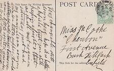 Miss M Cooke, First Avenue, Bush Hill Park, Enfield 1909 JZ3.48