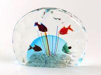 "Murano Beautiful Fish Tank Aquarium Art Glass Sculpture, 6"" Wide, Italy"