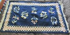 """Vintage Woven Wool Rug Tapestry 68"""" X 36'' Blue w/ Tulips Floral Design"""